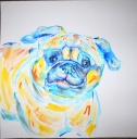 """Howie the Pug - 22"""" x 22"""" watercolor"""